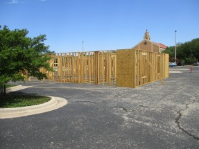 A Habitat for Humanity house is being constructed on the parking lot of First Baptist Church and will be moved to a permanent location.