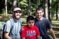 Hardin-Simmons University physical therapy students Hunter Westbrook and Caleb Tiemeyer work with an autistic special needs camper. during a Joni & Friends camp.