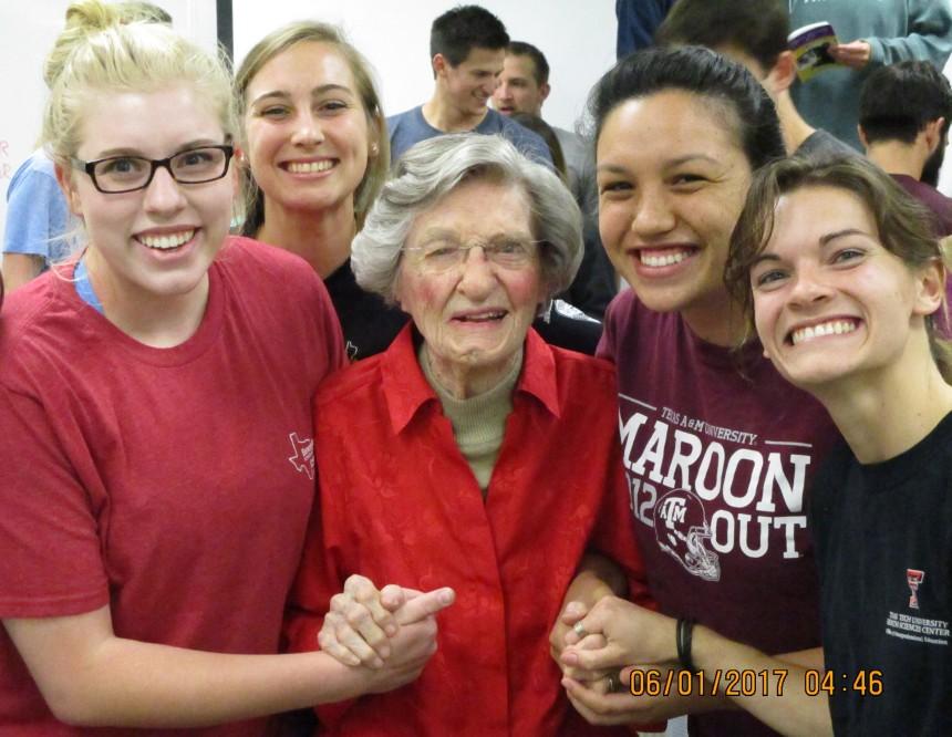 Virginia Connally with HSU class