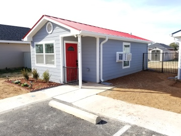 This tiny house on north Hickory street is one of several built by Sonrise Ministries to be a Healing House for families getting long-term medical care. Photo courtesy Sonrise Ministries