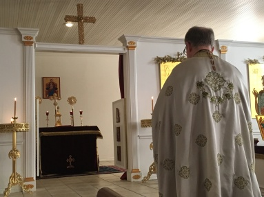 Father Philip LeMasters opens service at St. Luke Orthodox Church. Photo by Loretta Fulton