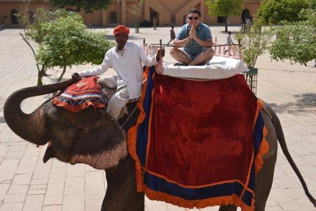 Ender De Leon riding elephant